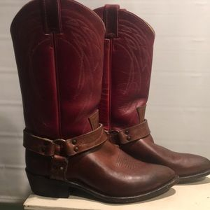 Frye pullon harness cowgirl boot
